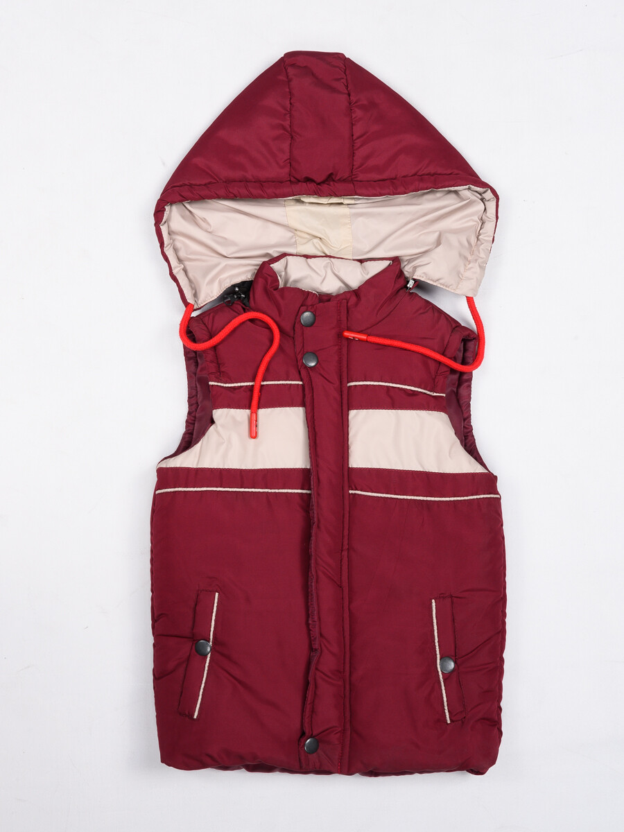 Maroon Kids sleeveless Puffer Jacket With Hood