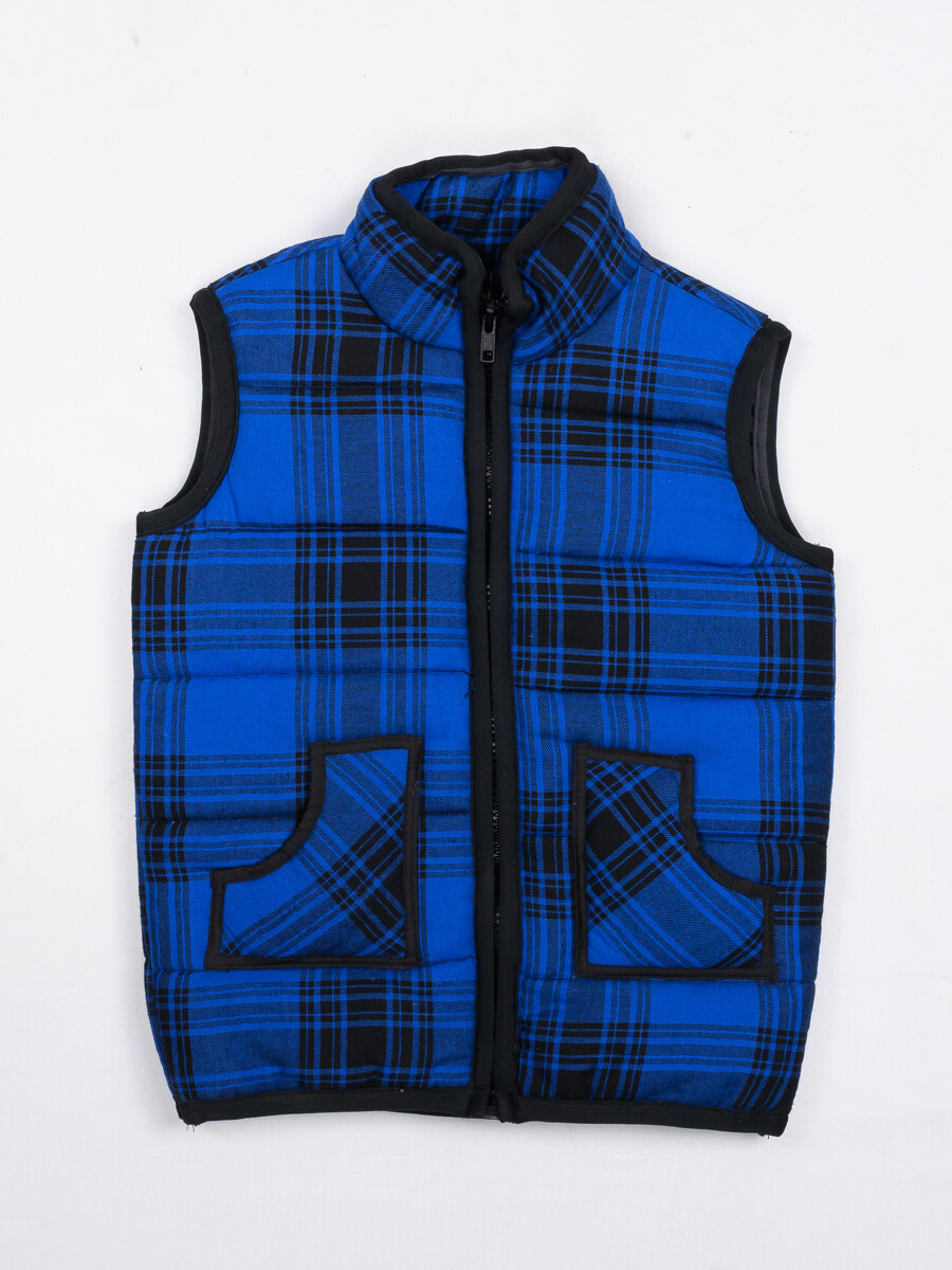 Blue & Black Check  sleeveless Kids Jacket