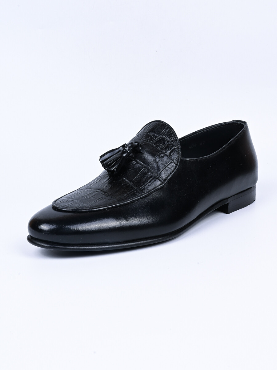 Men Black Troy Fashion Croco Slip-ons