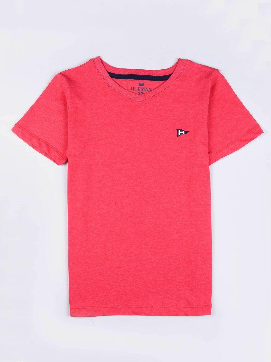 Little Girls Pink Cotton V-Neck Tee Shirt