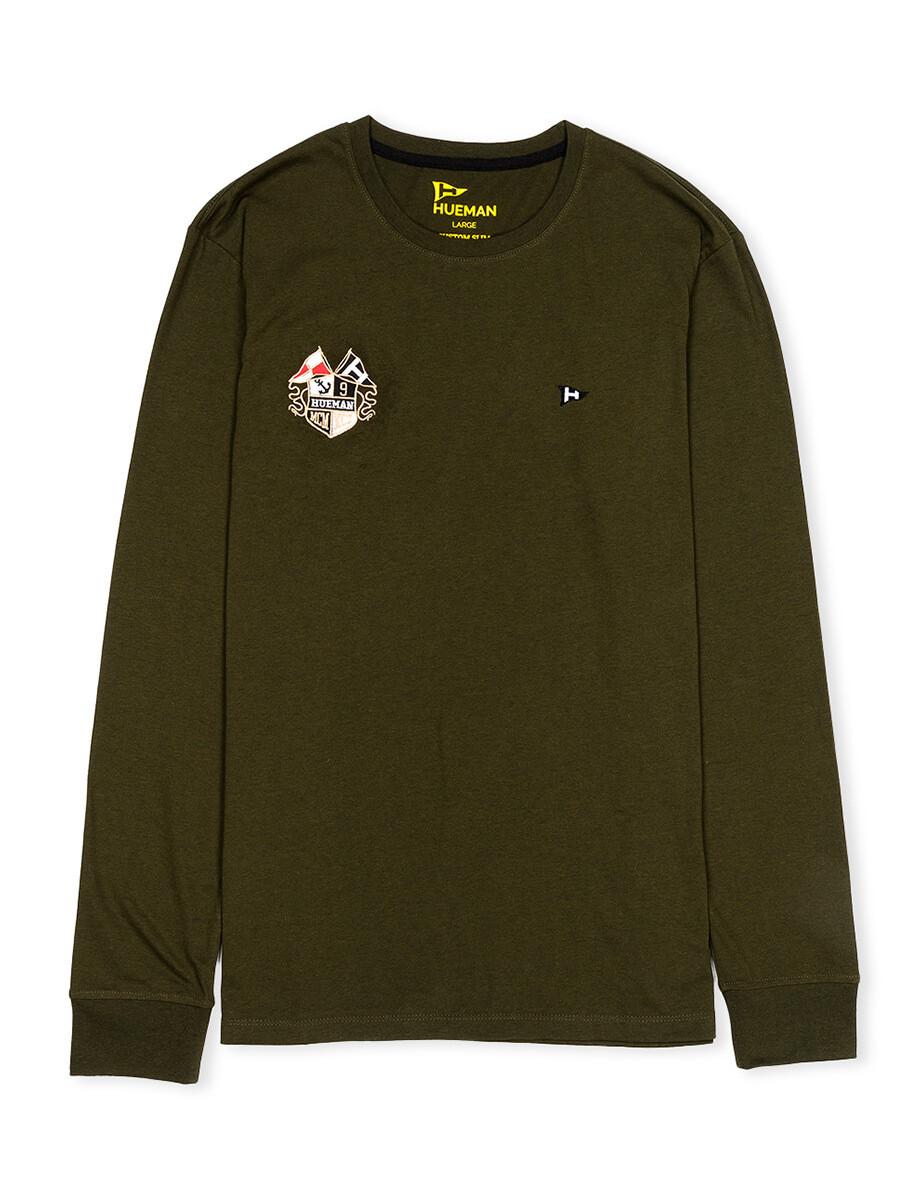 Men Olive Solid Full Sleeves T Shirt