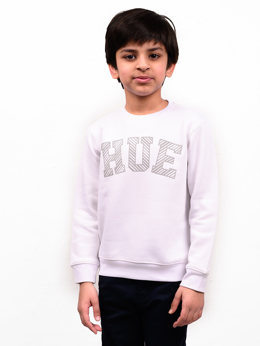 Little Boy White Fleece Sweatshirt
