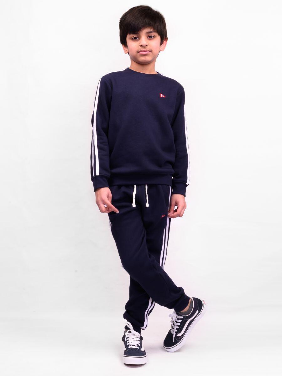 Little Boy Navy Blue Stripe Fleece Crew Sweatshirt Set