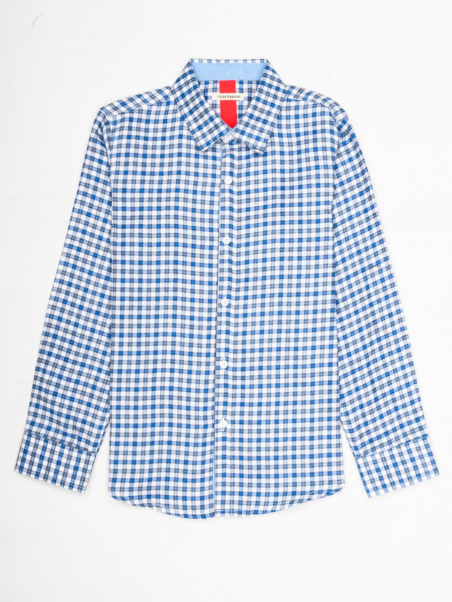 Boys White & Blue Plaid Full  Sleeve Flannel Shirt
