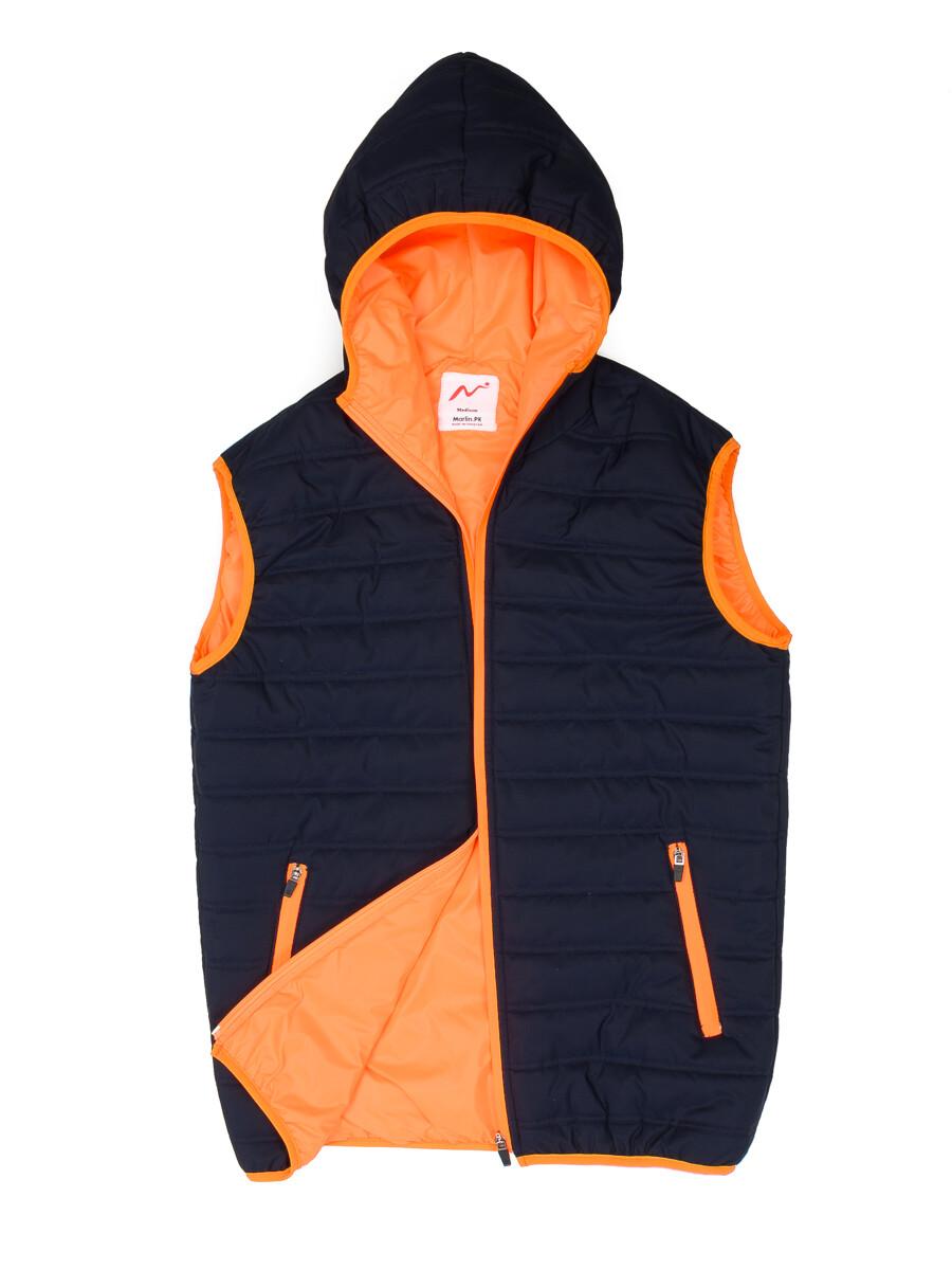 Navy Blue/Orange Sleeveless hooded Puffer Gilet Jacket