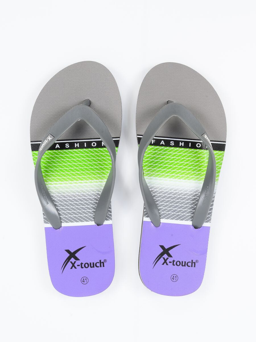 Men Grey & Black Comfort Flip Flop