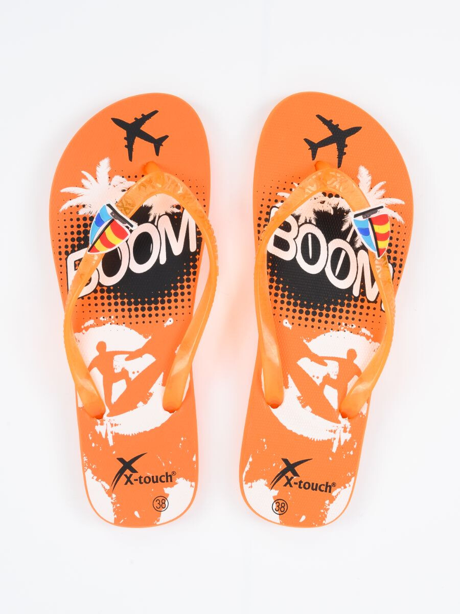Women Orange & White Comfort Flip Flop