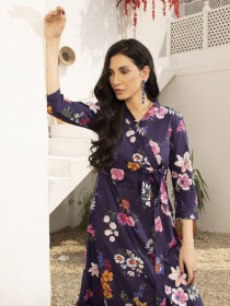 Purple Printed Lawn Unstitched Shirt for Women