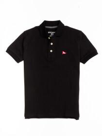 Little Boy's Black Iconic Mesh Regular Fit Short Sleeve Polo Shirt