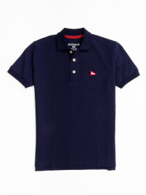 Little Boy's Navy Blue Iconic Mesh Regular Fit Short Sleeve Polo Shirt