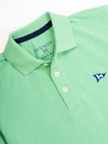 Little Boy's Turquoise Iconic Mesh Regular Fit Short Sleeve Polo Shirt