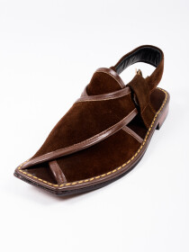 Hand-crafted Suede Leather BrownPeshawariChappal