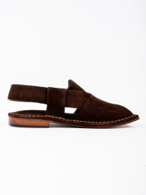 Hand-crafted Coffee Brown Suede Leather PeshawariChappal