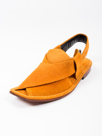 Hand-crafted Bronze Suede Leather PeshawariChappal