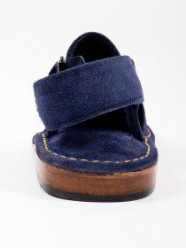 Hand-crafted Navy Blue Suede Leather PeshawariChappal