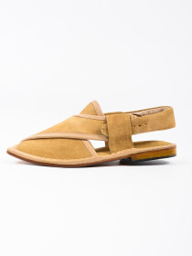 Hand-crafted Cream Suede Leather PeshawariChappal