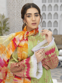 Green Printed Textured Lawn Unstitched 3Piece Suit for Women