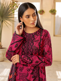 Pink Printed Textured Lawn Unstitched 3Piece Suit for Women