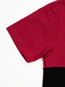 Boys' Black & Burgundy Short Sleeve T-Shirt Crew Neck