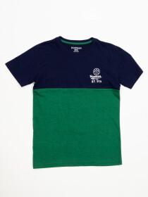 Boys' Navy Blue & Green Short Sleeve T-Shirt Crew Neck