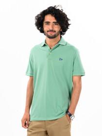Men's Light Green Iconic Mesh Regular Fit Short Sleeve Polo Shirt