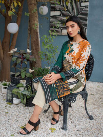 Green Printed Lawn Unstitched Shirt for Women