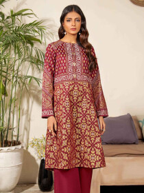 Maroon Printed Lawn Unstitched Shirt for Women