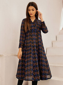 Black Printed Lawn Unstitched Shirt for Women