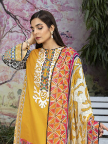 Yellow Printed Textured Lawn Unstitched 2 Piece Suit for Women