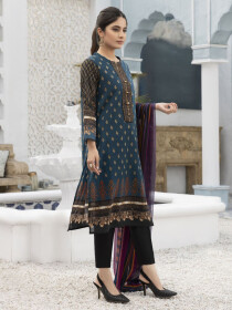 Blue Printed Textured Lawn Unstitched 2 Piece Suit for Women