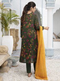 Green Printed Textured Lawn Unstitched 2 Piece Suit for Women