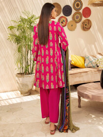Pink Printed Textured Lawn Unstitched 2 Piece Suit for Women