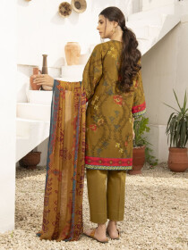 Mustard Printed Textured Lawn Unstitched 2 Piece Suit for Women