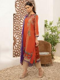 Orange Printed Textured Lawn Unstitched 2 Piece Suit for Women