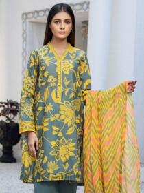 Grey Printed Lawn Unstitched 3 Piece Suit for Women
