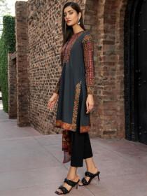 Black Printed Lawn Unstitched 3 Piece Suit for Women