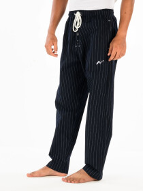 Black & White lining Cotton Relaxed Pajama with zipper side pockets