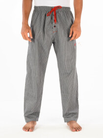 Grey & White lining Cotton Relaxed Pajama with zipper side pockets