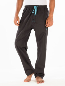 Brown & Blue lining Cotton Relaxed Pajama with zipper side pockets