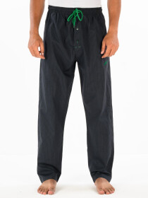 Navy Blue & Green lining Cotton Relaxed Pajama with zipper side pockets