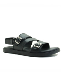Black Genuine Leather Sandals For Men