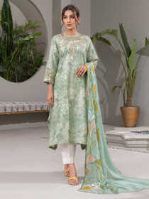 Green Embroidered Jacquard Unstitched 2 Piece Suit for Women