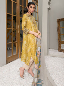 Yellow Embroidered Jacquard Unstitched 2 Piece Suit for Women