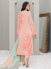 Pink Embroidered Lawn Unstitched 2 Piece Suit for Women