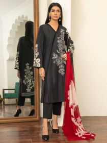 Black Embroidered Lawn Unstitched 2 Piece Suit for Women