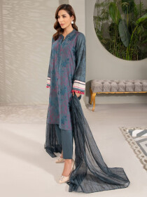 Blue Embroidered Lawn Unstitched 2 Piece Suit for Women
