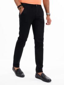 Men'sBlack Stretch Flat Front Slim Fit Chino Pant
