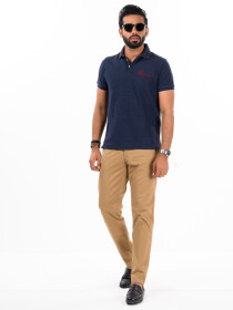 Men'sKhaki Stretch Flat Front Slim Fit Chino Pant