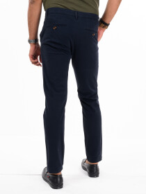 Men'sNavy Blue Stretch Flat Front Slim Fit Chino Pant