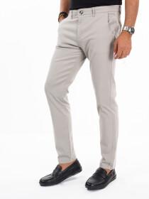 Men'sGrey Stretch Flat Front Slim Fit Chino Pant